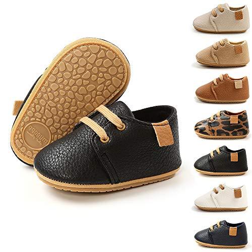 BiBeGoi Baby Jungen Mädchen Oxford Schuhe PU Leder Schnürschuhe rutschfeste Trainer Weiche Gummisohle Kleinkind erste Walking Sneakers, A Schwarz, 12-18 Monate