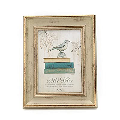 """5x7 Inches Vintage Feel Picture Frame for Tabletop or Wall Hanging with Glass Front (5""""x7"""", Khaki)"""
