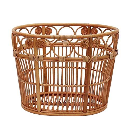 YANGYUAN Cesta de Almacenamiento Tejida Caja, Cestería Caja de almacenaje, cesta de la compra, cesta trenzada, hecha a mano, Almacenamiento de Bambú de Mimbre de la Cesta de Lavadero para Armario y Es