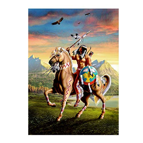 MXJSUA DIY 5D Diamond Painting Kits for Adults Kids Full Drill Round Gem Beads Art Painting for Home Wall Decor (12x16inch/30x40cm) Indian Man Riding Horse