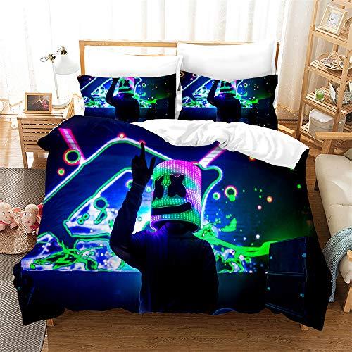 3-Piece Bedding, DJ Cartoon Duvet Cover Pillowcase Single Bed Extra Large Double Bed Non-Fading Polyester Comfortable Bedding,03,GBSingle55×82.7in