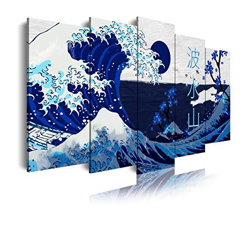 DekoArte 538 - Cuadros Modernos Impresión de Imagen Artística Digitalizada | Lienzo Decorativo para Tu Salón o Dormitorio | Estilo Abstractos Arte La Gran Ola De Kanagawa Azul | 5 Piezas 150 x 80 cm
