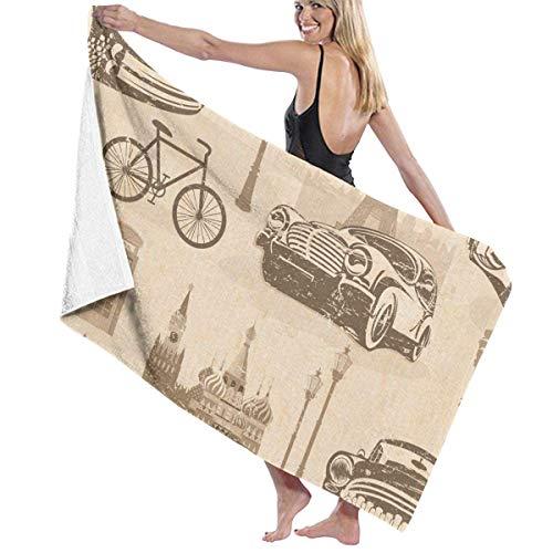 Retro Cars Bike Toallas de Playa de Microfibra Toallas de Piscina de SPA súper absorbentes de Secado rápido para Nadar al Aire Libre