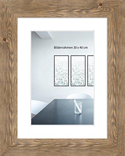 WANDStyle Bilderrahmen Strandhaus Stil 30x42cm DIN A3 I Farbe: Eiche-Optik I Fotorahmen I Holzbilderrahmen Landhaus Stil rustikal I Made in Germany I H780