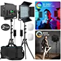 RGB Led Photography Lighting, Pixel 2 Packs Full Color Led Video Light, 552PCS LED Beads 45W/CRI 97/2600K-10000K/9 Applicable Scenes, Led Light Panel with U Bracket/Barn Door for Video Shooting