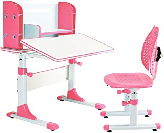 SÄKEE Kids Desk with Chair Set Angel and Height Adjustable Desk for Kids with Steel Structure, Multifunctional Bookshelf and Comfortable Chair