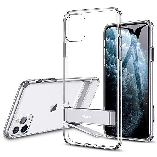 ESR Suporte de metal projetado para iPhone 11 Pro Max (suporte vertical e horizontal) [Proteção contra queda reforçada] Parte traseira de TPU flexível e macia para iPhone 11 Pro Max (versão 2019), transparente