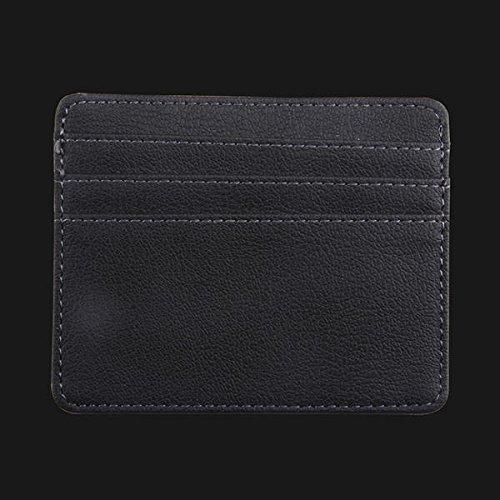 WZRY Casa Tarjeta de crédito de Cuero Slim Tarjeta de crédito Bolsa de Almacenamiento Titular de Dinero Tarjetas de Clip Organizador (Color : Black)