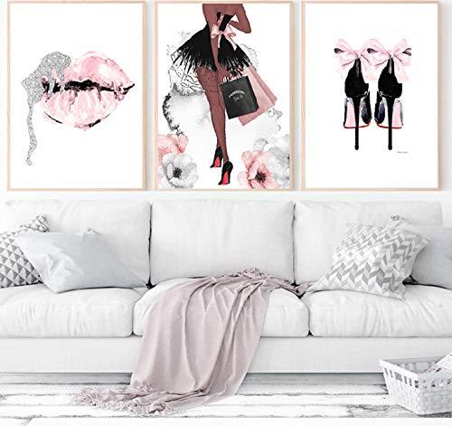 QINGRENJIE Mode Wandkunst Parfüm Lippen Poster Nordic Print High Heels Leinwand Malerei Frau Bilder für Wohnzimmer Moderne Dekoration 3 Stück 40X50Cm * 3 Ohne Rahmen