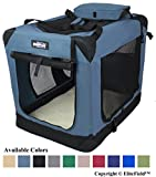 EliteField 3-Door Folding Soft Dog Crate, Indoor & Outdoor Pet Home, Multiple Sizes and Colors Available (36' L x 24' W x 28' H, Blue Gray)