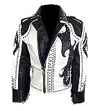 Mens Tribal Rock Punk Studded Motorcycle Leather Jacket Gothic Rivet Fringe Biker Outerwear