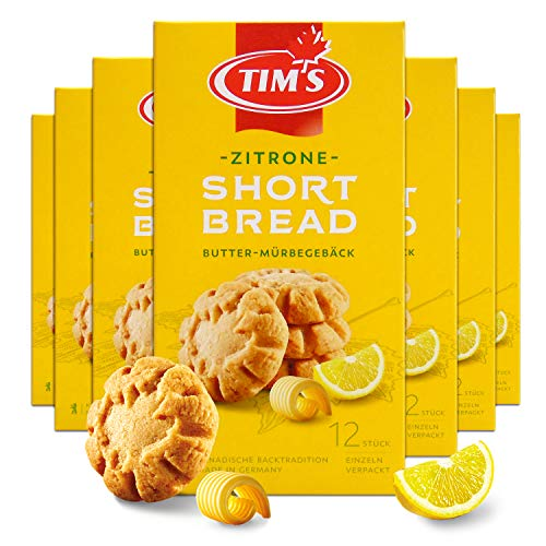 Tims Feines Shortbread Zitrone 165 g I Original Kanadisches Shortbread I Buttriges, süßes Mürbteig-Gebäck ohne Konservierungsstoffe I Traditionelle kanadische Backwaren Made in Germany