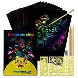 Scratch Art Paper, Set de Papel de Dibujo para Niños, Novedad Regalos de cumpleaños Regalo para niñas de 3-8 años Niños Suministros de Arte para niños pequeños de 4 a 11 años de Papel Arte para niños