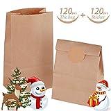 120 Stk Braune Papiertüten, 18 x 9 x 5 cm Papiertüten Geschenktüten, Süßigkeiten Tüten mit 60 Rindsleder Sticker für Geschenk-verpackung Brote Keks verpacken Ostertüten