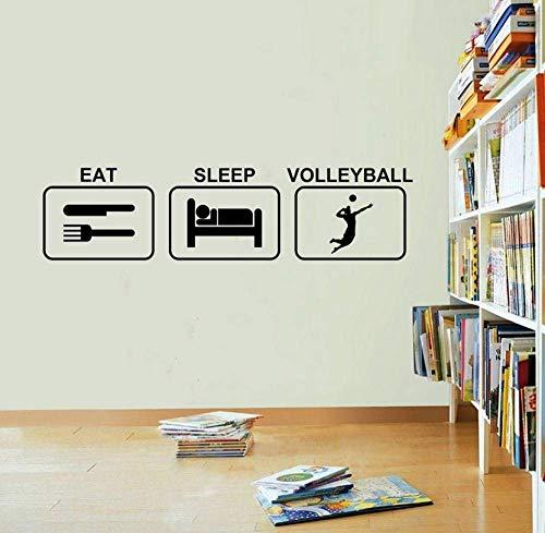 Wandtattoos Eat-Sleep-Volleyball-Wall Sticker-Vinyl Wandtattoos Cartoon Vinyl Living Abnehmbare Art Decor Home Decor Wandtattoo 58X15Cm