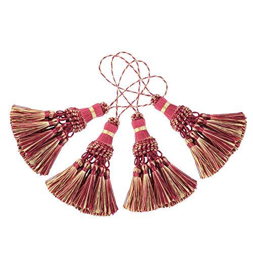 Bel Avenir 4er Pack Handgefertigte Elegante Polyester-Quaste Bunte Quasten für Schlüsselanhänger DIY Dekoratives Zubehör (Rot)