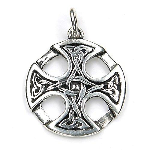 Keltenkreuz Knoten Schmuck Anhänger 925 Silber, Länge mit Öse: 3,5cm keltisches Kreuz