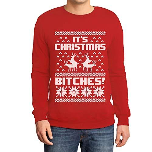 Shirtgeil It's Christmas Bitches - Maglione Brutto di Natale Felpa/Maglione da Uomo Small Rosso