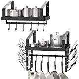 X-cosrack Pot Racks Wall Mounted Set of 2 ,with Towel Bar and Pots Pans Lids Organizer, Kitchen Cookware Hanging Shelves with 12 Hooks, Black