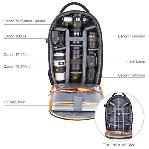 K&F Concept Fotorucksack wasserdicht Kamerarucksack Rucksack Kamera für Canon Nikon Sony DSLR Spiegelreflexkameras und Zubehör, Schwarz
