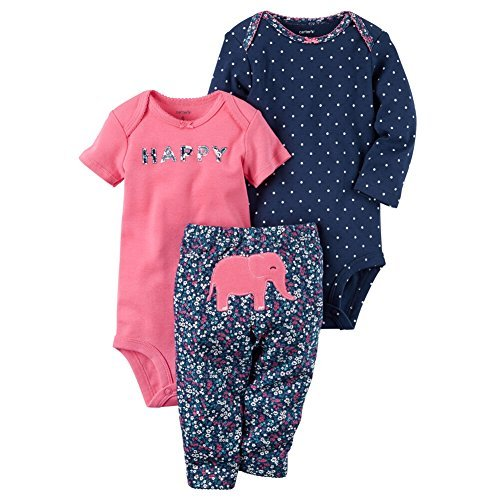 Carter's Baby Girls' 3 Piece Elephant Set Preemie,Pink