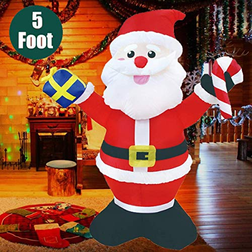 Kyerivs 5 ft Christmas Inflatables Santa Claus Holding Gift Box and Candy Cane with LED Lights Blow Up Outdoor Yard Decoration