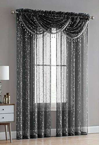 Luxury Home Textiles Adeline 5 Piece Curtain Set with Beaded Austrian VALANCES (Black/Silver)