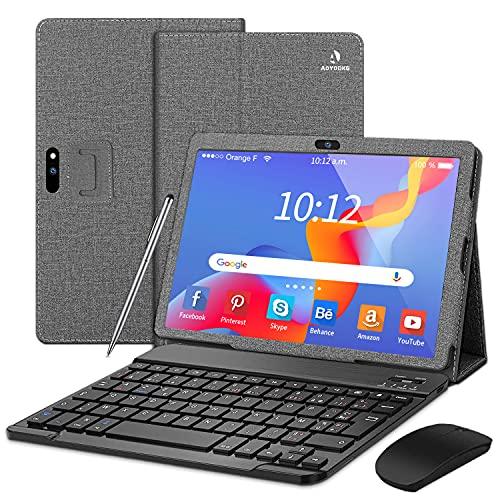 4G Tablet 10 Pollici, con tastiera,Android 9.0 3GB RAM e 32GB ROM, fotocamera da 1280 * 800.5MP + 8MP, Tablet con Wifi Offerte, 128 GB Espandibile Quad core  Dual SIM  GPS   Bluetooth(Grigio)
