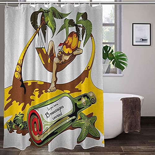 lovedomi Cortina decorativa para baño de playa, con la imagen del hombre joven en la hamaca y una botella de diseño artístico cortina de ducha en la playa, tela de poliéster impermeable, 183 x 183 cm