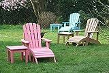 SCHWEEN24 Adirondack Garten Möbel Set Chair Gartenstuhl Gartensessel Tisch Fußauflage Holzoptik (Rosa)