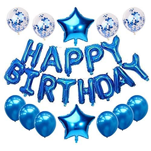 Haimimall Blue Happy Birthday Balloons for Men Boy-13pcs Letters Balloons 2pcs Giant Star Foil Balloons 4pcs Confetti Balloons 6pcs Latex Balloons Birthday Party Decorations and Supplies Balloons
