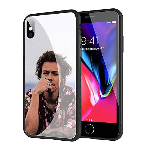 GUOZHAO Phone Case iPhone XR,GZA-155 Harry Styles Tempered Glass Back Black Cover and Soft Silicone Rubber Bumper Frame for Scratch-Resistant and Anti-Scratch Absorption