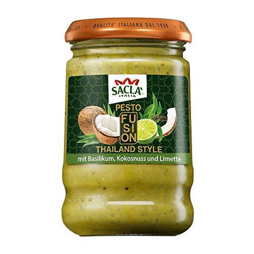 Saclà Pesto Fusion: Thailand Style | Mit Basilikum, Kokosnuss und Limette | Für Nudeln, Pasta & Saucen | 190 g
