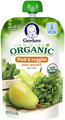 Gerber Organic 2nd Foods Purees - Pear Spinach - 3.5 oz - 6 Pack