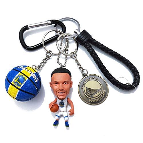 Cradifisho Vinba - Llavero de muñeca con estrella de la NBA, muñeco de baloncesto, escudo de equipo, muñeca de baloncesto artesanal NBA, resina, adornos para muñecas, conjunto de 3 piezas (Dell Curry)