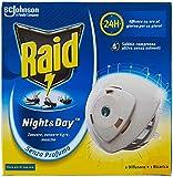 Raid Night & Day Base con Ricarica, Antizanzare e Repellente Mosche, Contiene 1 Diffusore e 1 Ricarica, Senza Profumo