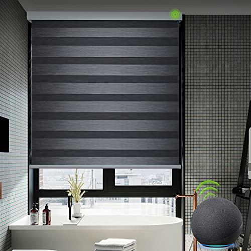 Yoolax persianas de Cebra motorizadas Funcionan con Alexa, estores de Ventana automáticas de Doble Capa con Control Remoto, tamaño Personalizado, filtra la luz para la Oficina o casa (Negro Carbón)