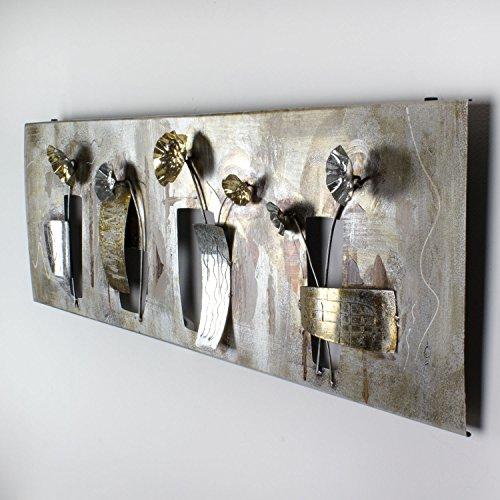 mosa designs House of Arts - 3D Metallbild Wandbild Blumen Gold Silber Bronze Wanddeko 120x40cm (120 x 40)