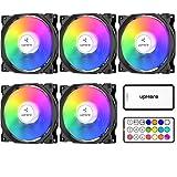 upHere C8123-5 120mm RGB LED (Geräuscharm, hoher Luftdurchsatz, Gehäuse-Kühlung-Lüfter, Fünf Stücke mit Drahtlose Fernbedienung) Schwarz