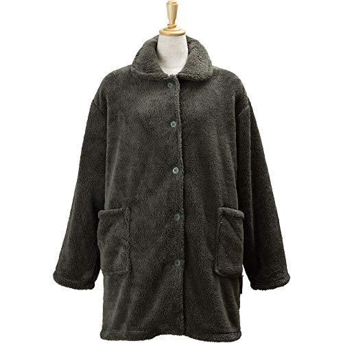 アイリスプラザ 毛布 着る毛布 85cm丈 ルームウェア マイクロミンクファー ふわふわな肌触り 静電気防止 洗える モスグリーン