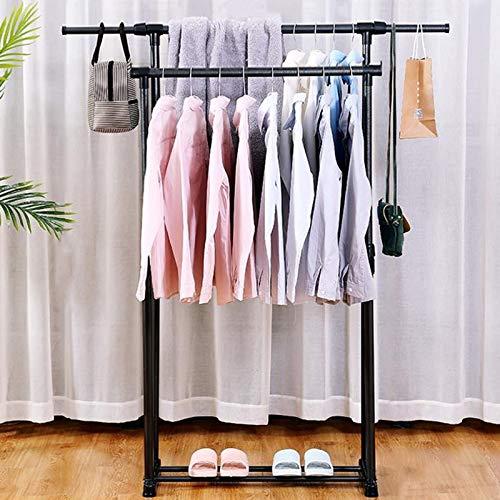 Garment Rack, Freestanding Hanger, Double Rod Portable Clothing Hanging Garment Rack, Multi-functional Clothing Rack,for Home Office Bedroom Black