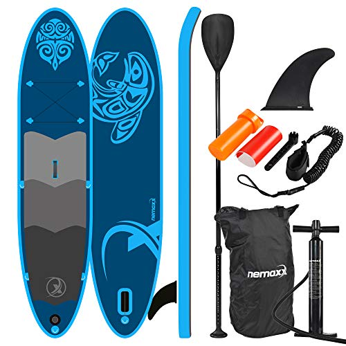Nemaxx PB330 Tabla de Paddle Surf Sup 330x76x15cm, Azul - - Tabla de Paddle Board - Tabla de Surf - Hinchable con Mochila, remos, Aletas, Bomba de Aire, Kit de reparación