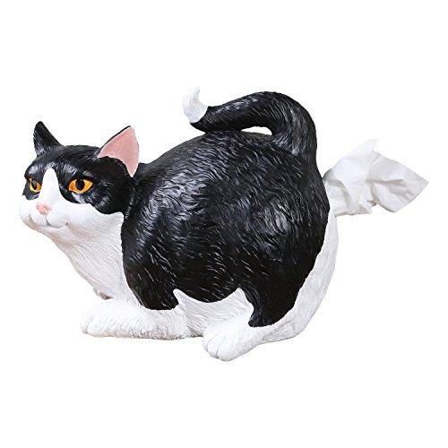 WHAT ON EARTH Cat Butt Tissue Holder - Black & White Tuxedo - Fits Standard Square Tissue Box - Resin