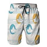 Hombres Playa Bañador Shorts,Origami Papel Barcos Barcos patrón mar,Traje de baño con Forro de Malla de Secado rápido S