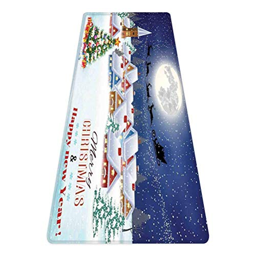 Christmas Rug Runner,Moon Santa Claus Reindeer Hovering in Winter Sky of a Small Village Illustration,for Living Room Bedroom Dining Room,4'x 2',Navy White