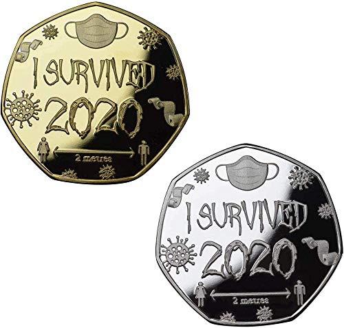 2 Piezas Juego de medallas y conmemorativas I Survived 2020 de, colección en Forma de Moneda de 50 p, Moneda Conmemorativa con Letra grabada, Regalos para familias (Gold+Silver)