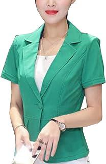 maweisong 女性カジュアルスリムフィット半袖OLオフィスジャケットブレザー