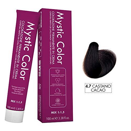 Mystic Color - Crème Colorante Permanente à l'Huile d'Argan et au Calendula - Coloration Longue Durée - Couleur Brun Cacao 4.7 - 100ml