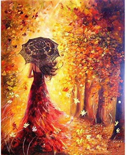 Mrlwy DIY Ölfarbe Nach Zahlen Regenschirm Mädchen Malen Mit Pinseln Kits Acrylmalerei Für Erwachsene Kinder Anfänger Studenten (Rahmenlos) 16X20Inch
