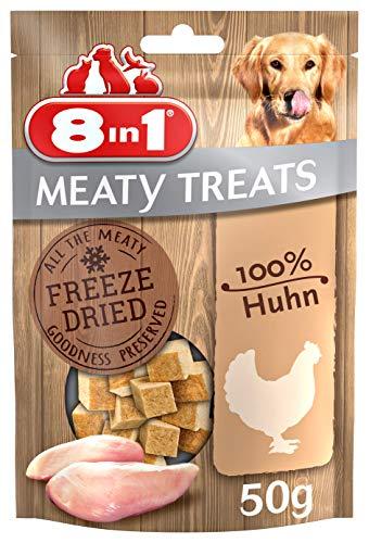 8in1 Meaty Treats, gefriergetrocknete Hunde Leckerlis aus Huhn, 100{be77cbee8896297c9430e01ed77617ef675ed0a1bf75096b885dea516ab18242} Fleisch, getreidefrei und ohne Zucker, 50 g Beutel
